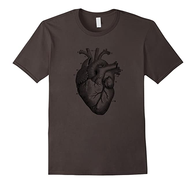 Amazon.com: Heart Diagram T-Shirt. Vintage Heart Diagram Anatomy Tee ...