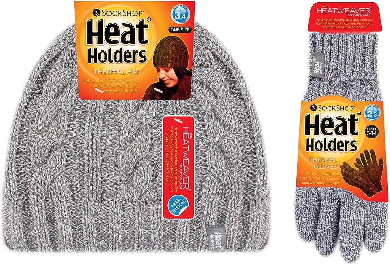 Damen winter warm fleece beanie m/ütze und handschuhe set HEAT HOLDERS
