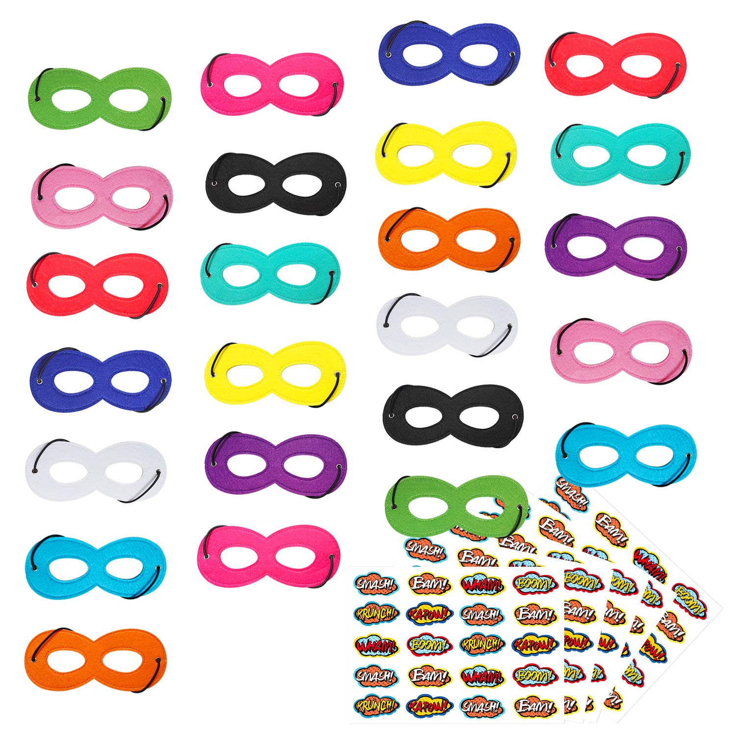 Superhero Masks, Superhero Party Mask, 24Pcs Mask for Kids with 100 Stickers