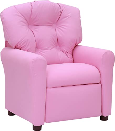 The Crew Furniture 649630 Traditional Kids Microfiber Recliner Chair Pink