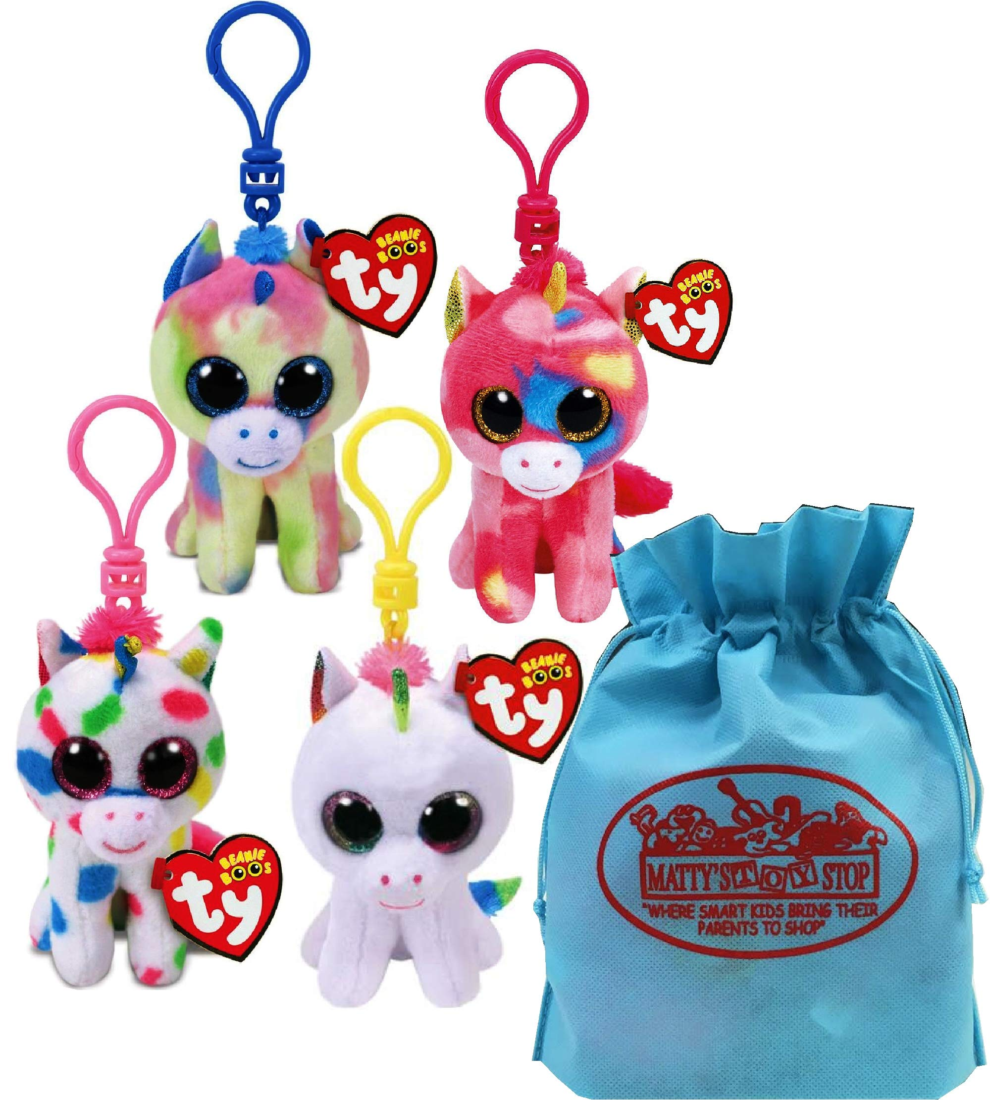 Ty Beanie Boos Clips (3'') Unicorns Blitz, Pixy, Fantasia & Harmonie Gift Set Bundle with Bonus Matty's Toy Stop Storage Bag - 4 Pack by Ty Beanie Boos