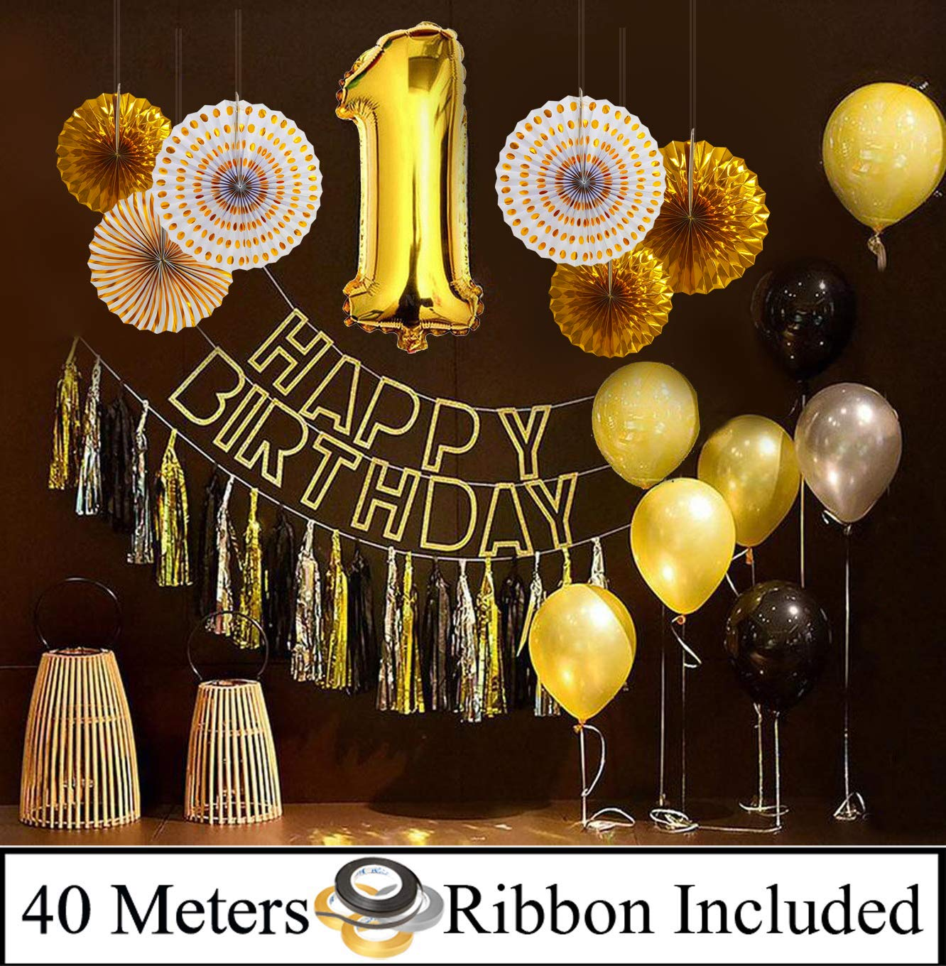 Buy Amfin First Birthday Decoration Combo 1st Birthday Decoration For Baby Girl 1st Birthday Decoration Items First Birthday Party Decoration 1st Birthday Balloons Birthday Party Golden