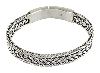 1f9b63ddd7d19a Image Unavailable. Image not available for. Colour: ARISIDH Latest  Attractive Design 92.5 Pure Original Sterling Silver Bracelet for Men and  Boys.