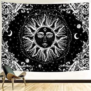 Funeon Black and White Sun Tapestry for Bedroom Bohemian Mandala Tapestry Wall Hanging Moon Stars Tapistry Dorm Decoration for College Girls | Cute Dark Tapistry Psychedelic Wall Decor 59x59inches
