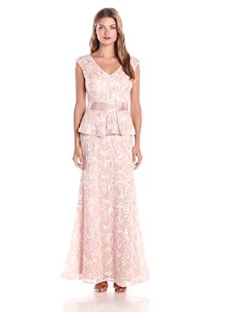 Ignite Women's Sutash Peplum Gown, Blush/Linen, 8