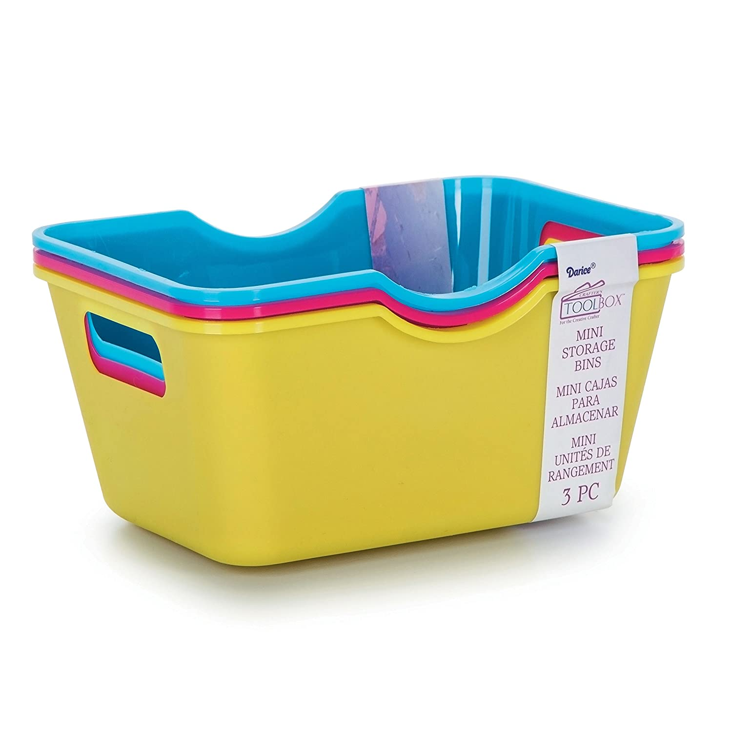Amazon.com: Darice Crafters Toolbox Mini Colorful Storage Bins - 4 x 2.75 inches - 3 pieces