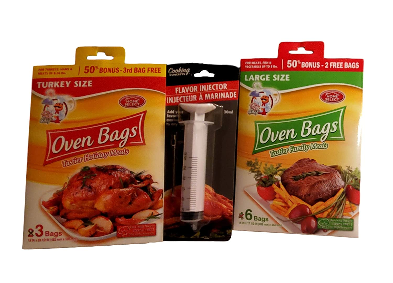 Home Select Oven bags, 1 pack ea Large and Turkey Size plus Cooking Concepts Flavor Injector