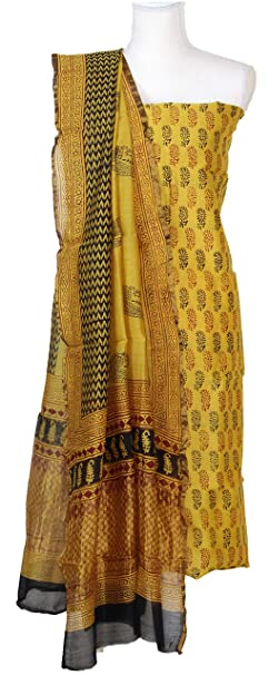 8a98a587e9 Weaves of Tradition Women's Chanderi Silk Cotton Hand Block Printed Salwar  Suit Material (DM1CHANSLK152,