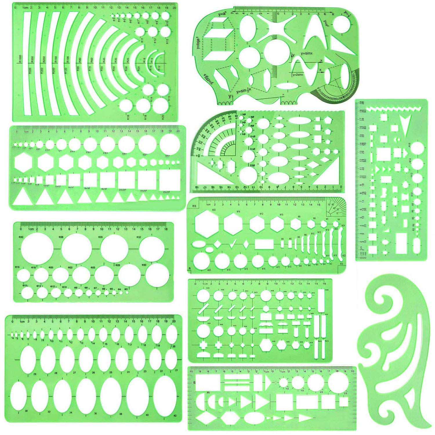 11 Piece Geometric Drawing Template Measuring Ruler, Transparent Green Plastic Ruler with Portable Plastic Bag for, for Studying, Designing and Building by ipekar