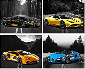 Car Posters - Lamborghini Aventador, Ferrari 458, Mclaren P1, Bugatti Veyron Sports Car Wall Art - Supercar Decor Set of 4 Unframed (8x10 inches) Exotic Supercars Pictures - Black & White