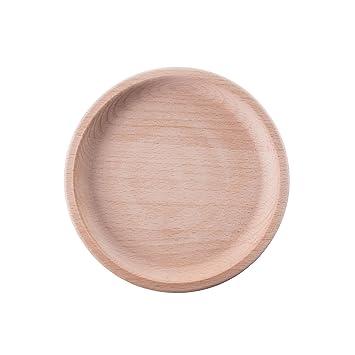 Bandejas cuadradas y redondas para servir platos o platos, madera natural y respetuoso con el