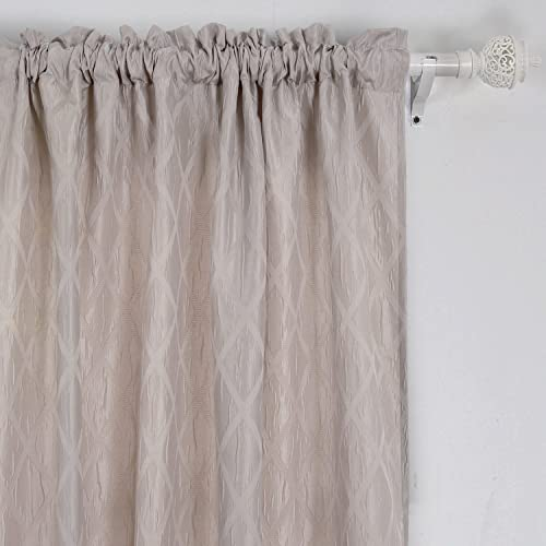 Deconovo Room Darkening Curtains Rod Pocket Insulated Curtains Rhombic Pattern Drapes for Sliding Glass Doors 52 x 63 Inch Taupe 2 Panels
