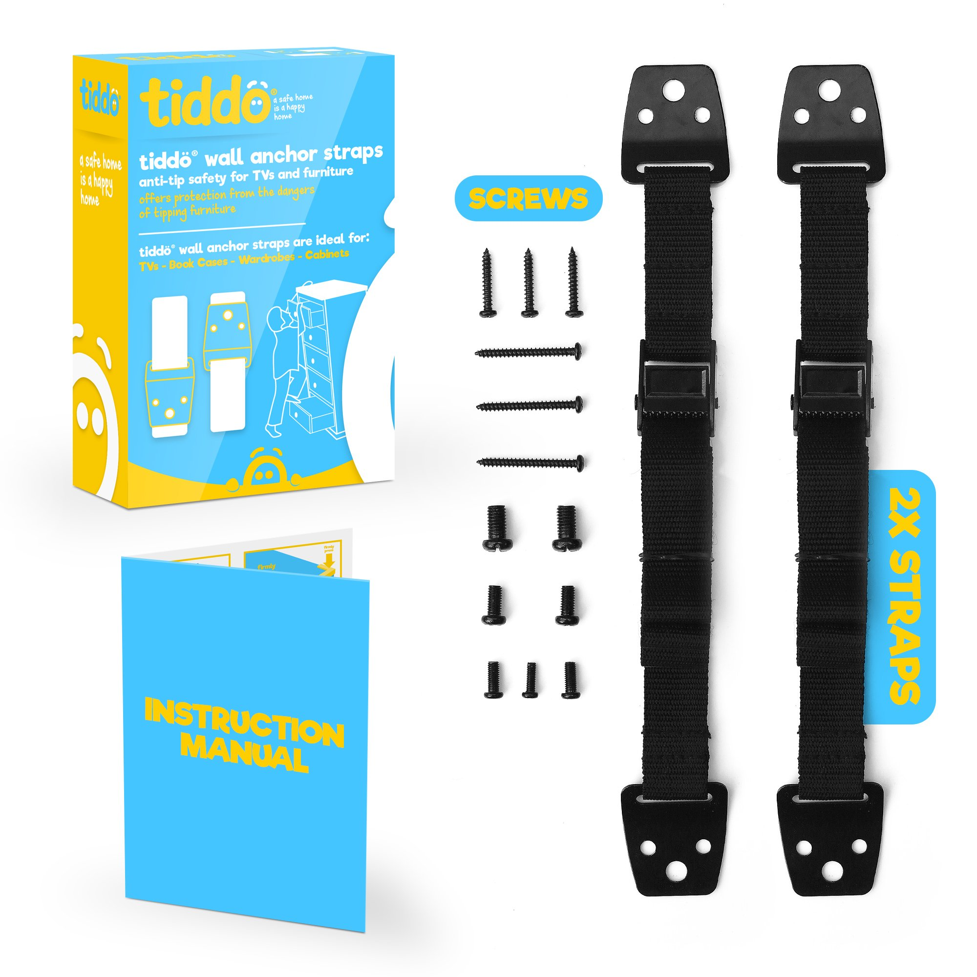 FLASH SALE | tiddö Anti-Tip Safety Wall Anchor Straps for TVs and Furniture Belts, Baby Proofing Anti Tip Flatscreen TV Strap with VESA Screws by tiddö