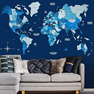 Wall Art Wooden World 3D Map Decor Home decor Gift Map With Capitals Large Travel Wall art Rustic Home Decor Office Living Room Interior Design By Enjoy The Wood