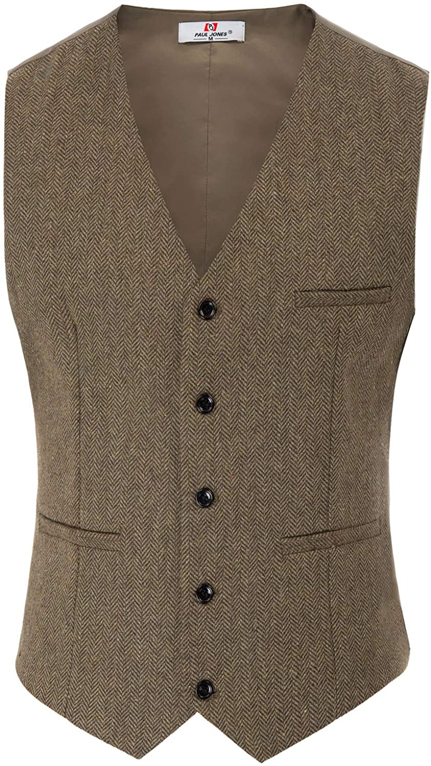 1920s Style Mens Vests PAUL JONES Mens British Herringbone Tweed Vest Premium Wool Waistcoat $32.99 AT vintagedancer.com