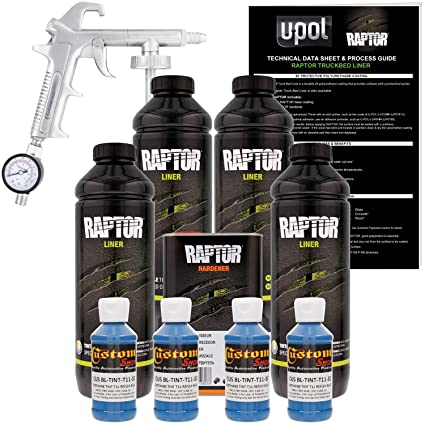 b3e372b27b Amazon.com: U-Pol Raptor Reflex Blue Urethane Spray-On Truck Bed Liner Kit  w/Free Spray Gun, 4 Liters: Automotive
