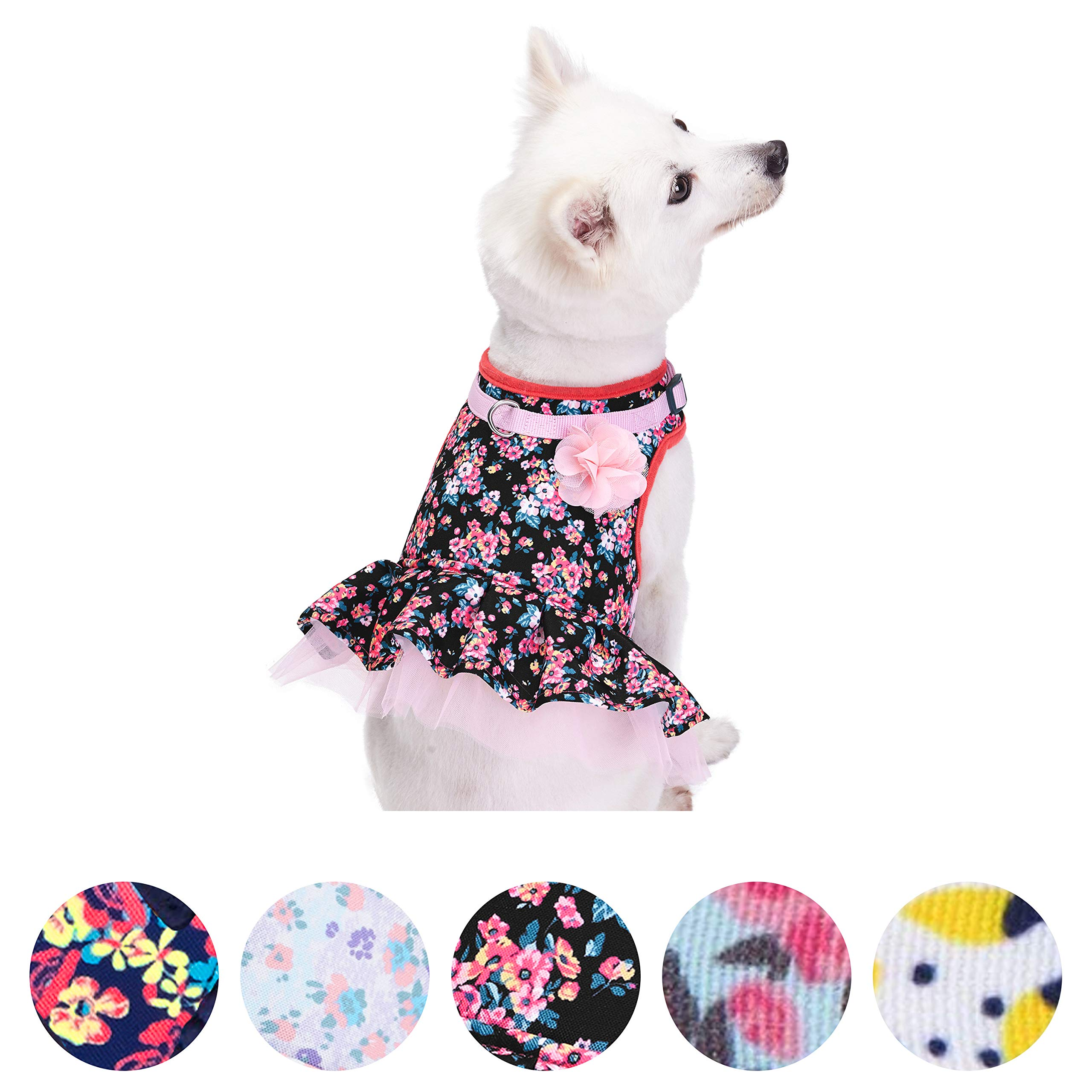 Blueberry Pet New Soft & Comfy Spring Made Well Elegant Floral No Pull Mesh Puppy Dog Costume Harness Dress in Sleek Black, Chest Girth 14''-16'', X-Small, Adjustable Harnesses Dogs