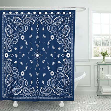 Amazon TOMPOP Shower Curtain Colorful Scarf Blue Paisley