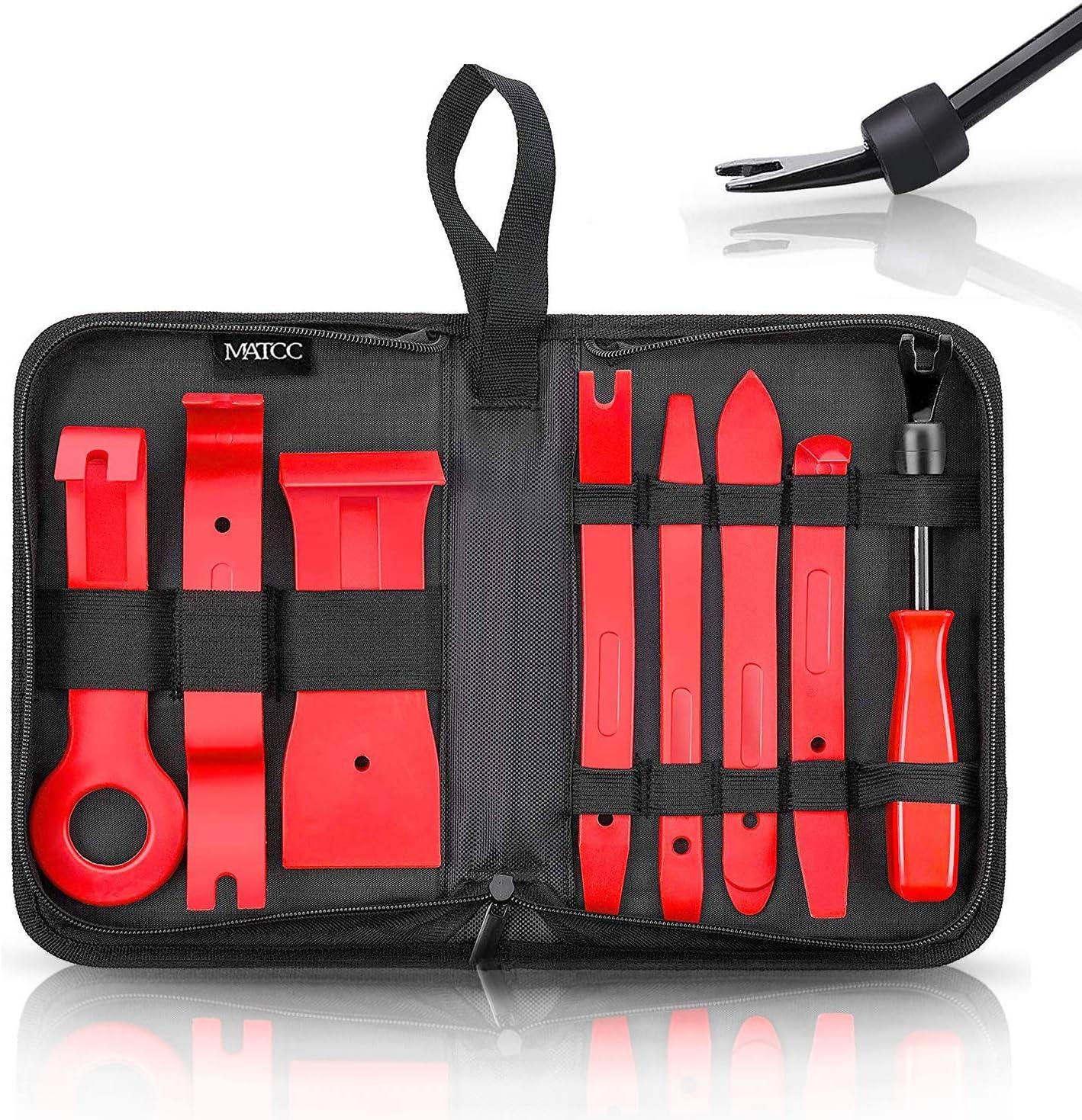 MATCC 8PCS Herramientas de Desmontar Coche Kit de Desmontaje para Desmontar el Salpicadero Radio Coche Panel Frontal y Extraer Tapicerías de Vehículos Nylon y Pom
