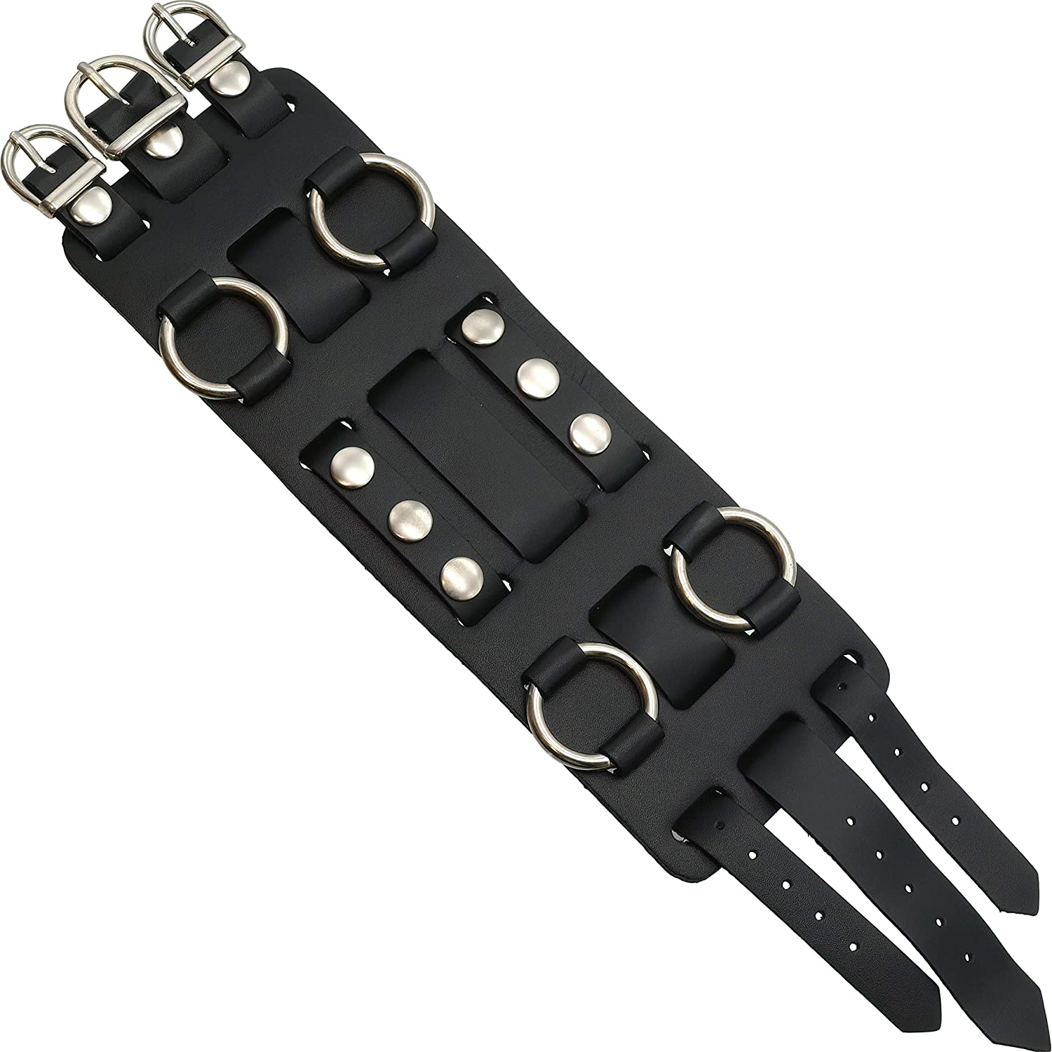 b8185c494d1 Wide black leather cuff wrist watch band rock roll home kitchen jpg  1500x1500 1960s thick leather