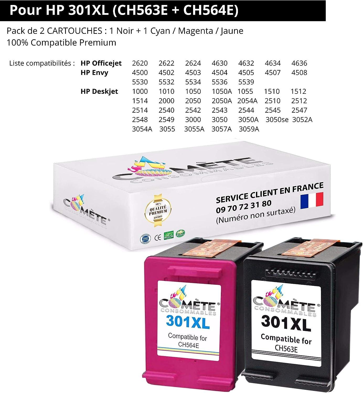 Pack de 2 cartuchos ○ HP 301XL 301 XL HP301XL (CH563E + CH564E) ○ Negro + Colores Compatible Premium para HP Deskjet Comète EN STOCK desde Francia: Amazon.es: Electrónica