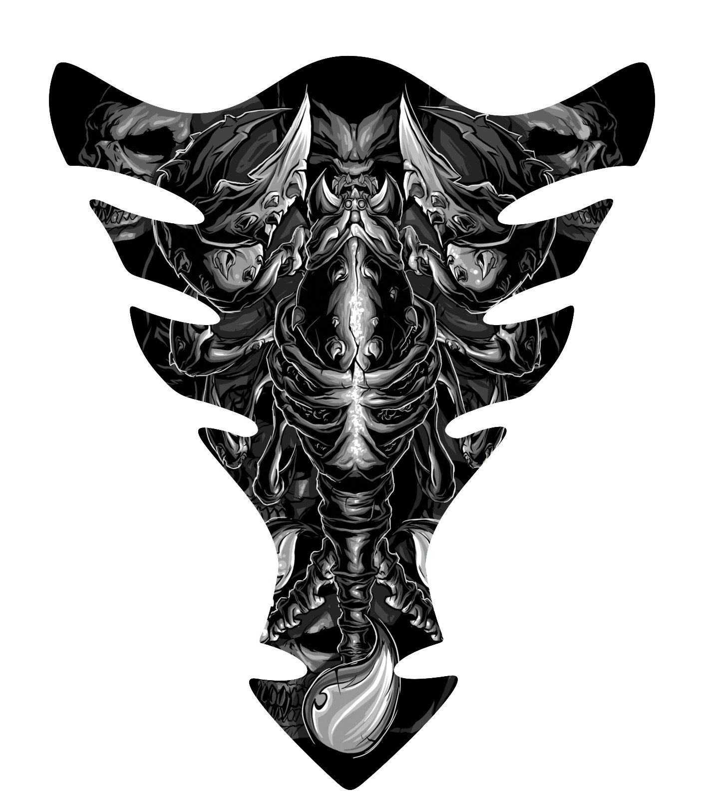 Gray Scorpion Skull Sportbike Motorcycle Gas Tank pad Protector Guard Sticker Decal