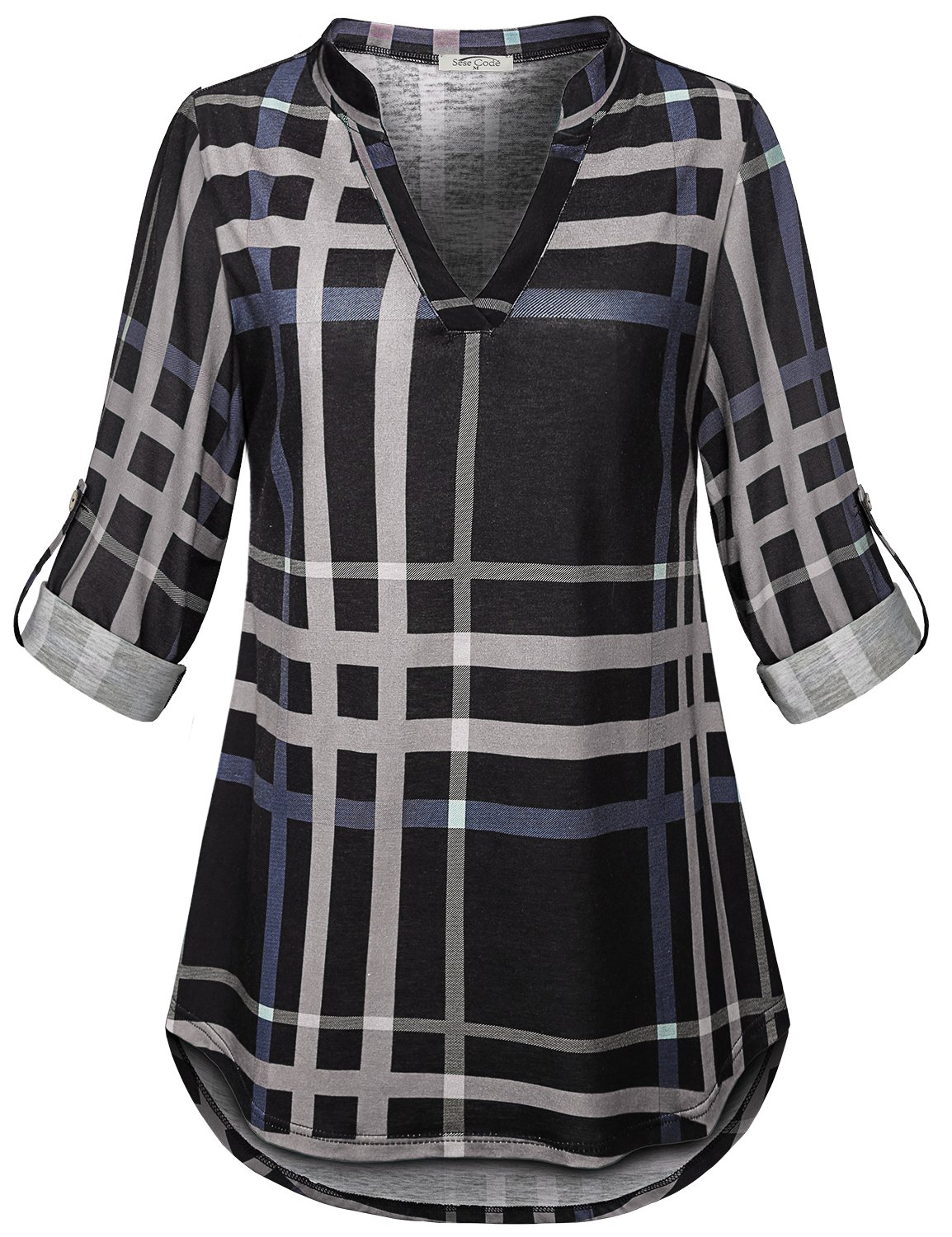 SeSe Code Tartan Shirts Women Ladies Henley Checkered Loose Fitted Blouse Retro Mandarin Collared Different Jerseys Swing Latest Fashion 3/4 Sleeve Tunic Top Gray and Black XL