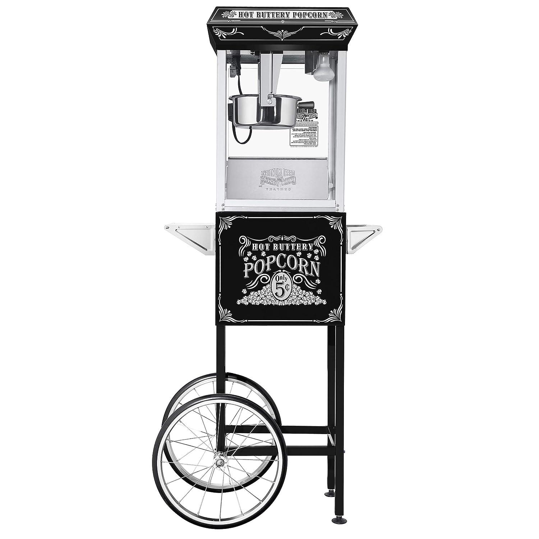 5810 Great Northern Black Good Time 8oz Full Popcorn Popper Machine w Cart, 8 Ounce