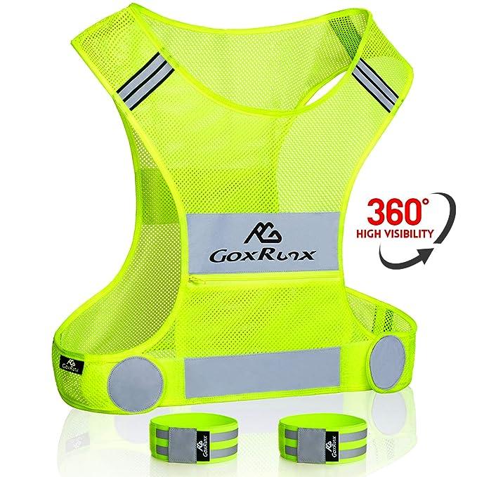 GoxRunx Reflective Running Vest Gear with Large Pocket & Adjustable Waist for Men Women, Lightweight Reflective Vest for Walking Cycling, Safety Running Vest with 2 Reflective Bands