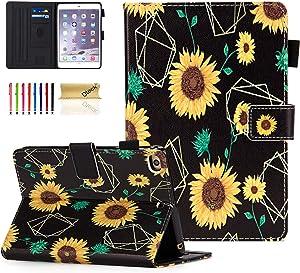 iPad Mini Case, Dteck Slim Fit Smart Premium PU Leather Multiple Viewing Folio Stand Wallet Cover with Auto Wake/Sleep for Apple iPad Mini 2/Mini 3/Mini 4/Mini 5, Sunflowers