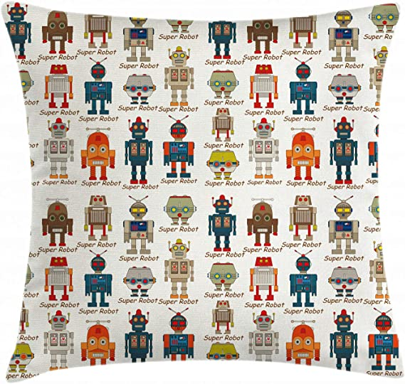 ABAKUHAUS Robot Funda para Almohada, Figuras Super Robot, Colores Perdurables Tela Lavable, 40 x 40 cm, Multicolor: Amazon.es: Hogar