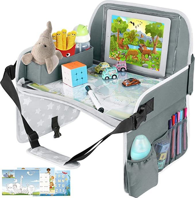 Kids Travel Tray, Toddler Car Seat Tray with Dry Erase Board, Collapsible Lap Car Seat Travel Table Desk w/iPad Holder, Storage Pocket, Kids Tray for Road Trip, Car Stroller, Airplane, Grey