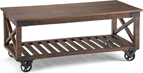 SIMPLIHOME Harding SOLID MANGO WOOD and Metal 44 inch Wide Square Modern Industrial Coffee Table