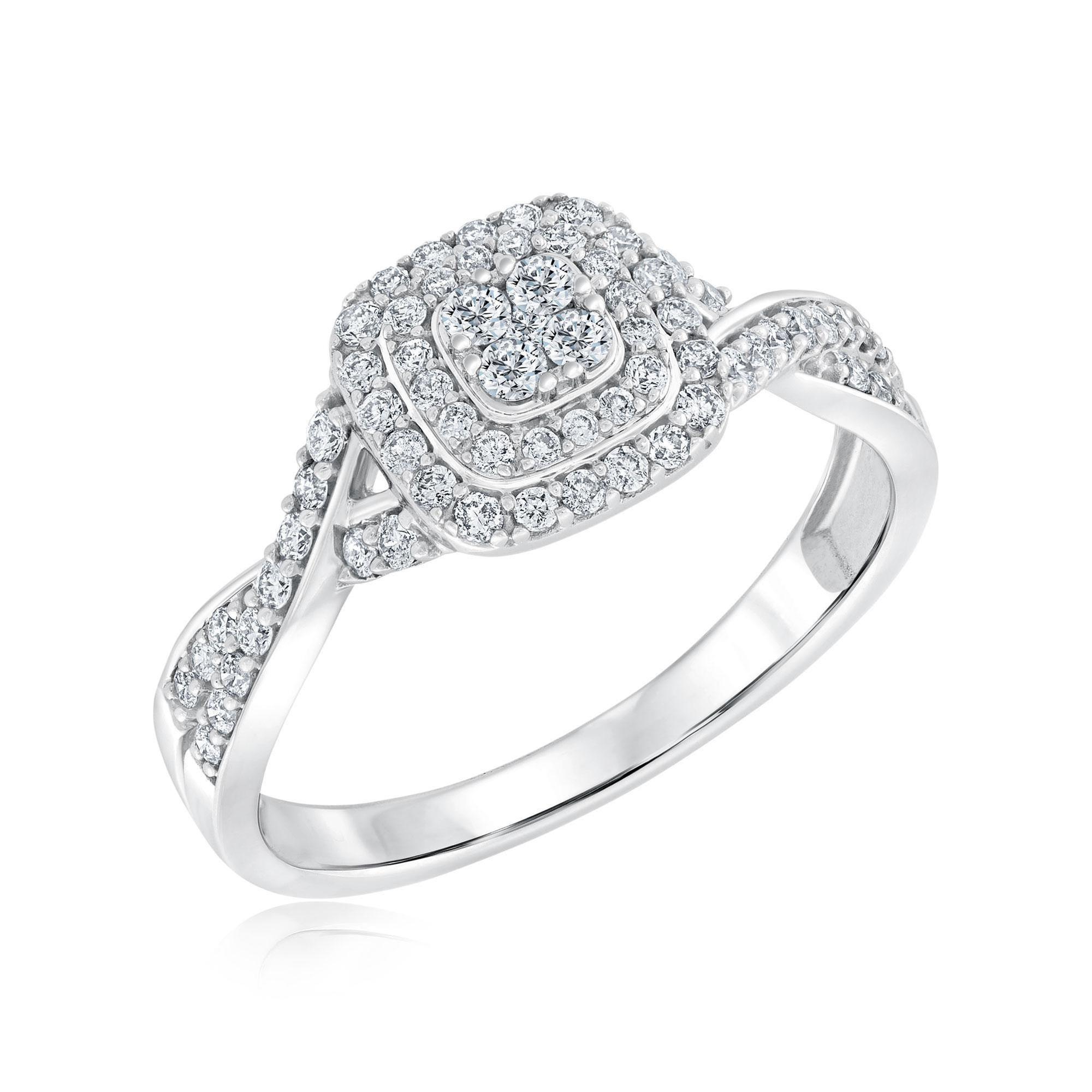 Round Diamond Multi-Top Twist Band Engagement Ring 1/2ctw - Size 7