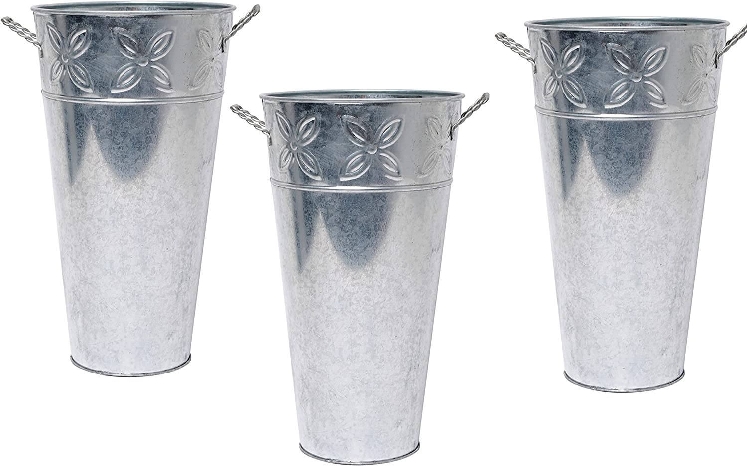 Hosley Set of 3 Galvanized Vases 12 Inch High Each French Bucket Design Ideal Gift for Wedding Special Events Aromatherapy Spa Reiki Meditation Settings O3