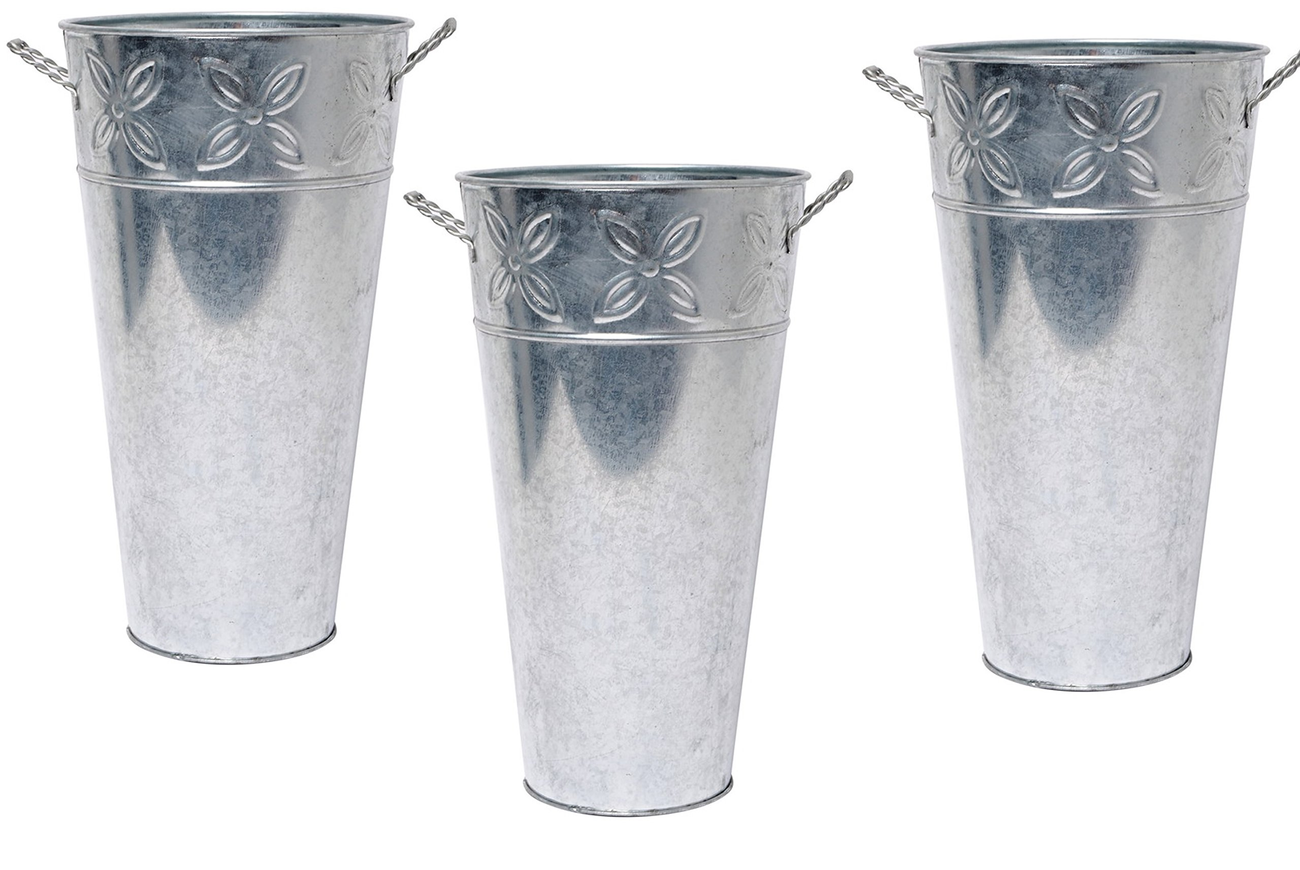 Hosley Set of 3 Galvanized Vases 12'' High Each. French Bucket Design. Ideal Gift for Wedding, Special Events, Aromatherapy, Spa, Reiki, Meditation. O3