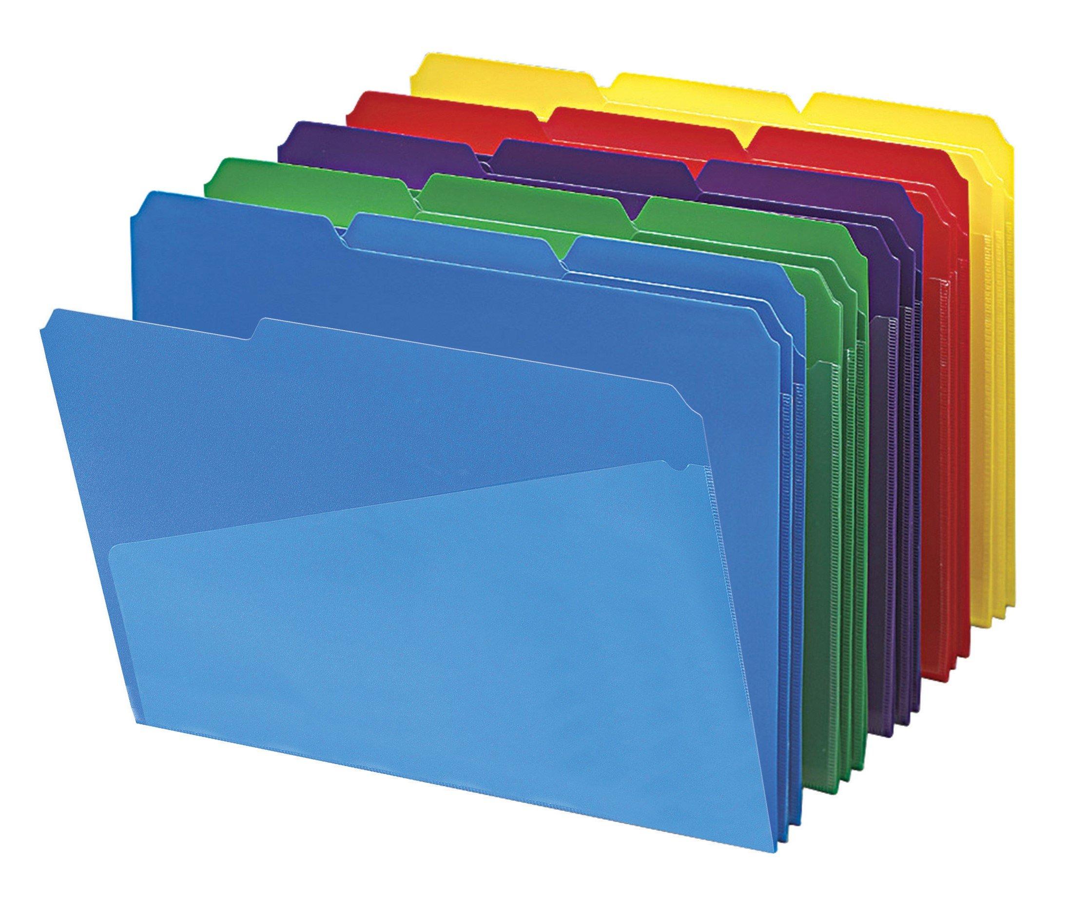 Smead 10540 Slash Pocket Poly File Folders, 1/3 Cut Top Tab, Letter, Assorted (Box of 30)