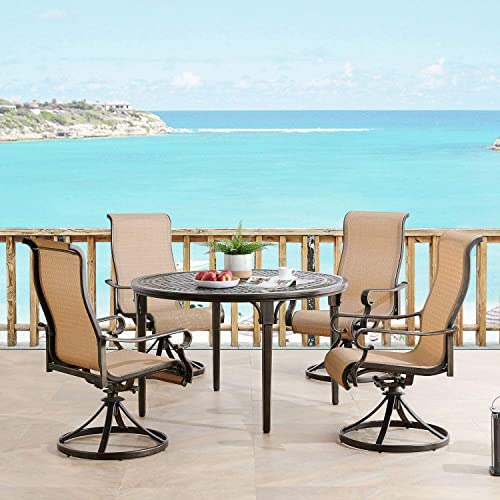 Hanover BRIGDN5PCSWRD Brigantine 5-Piece 4 Contoured-Sling Swivel Rockers and a 50-in. Round Cast-Top Table Outdoor Dining Set