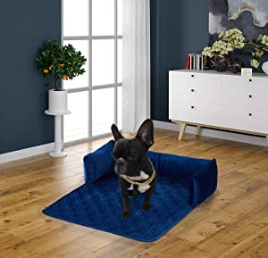 Brilliant Sunshine Premium Silky Velvet Pet Couch Sofa Bed, Slip Resistant, Waterproof, with 3-Sides Removable Cushions, Couch Protectors, Furniture Covers for Pets, Dogs, Cats