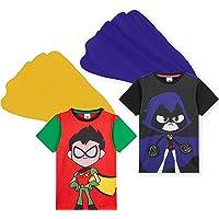 Teen Titans Go! Camiseta De Manga Corta para Niños Capa De Superhéroe, Pack De 2 Camisetas con Raven Y Robin, Regalos…