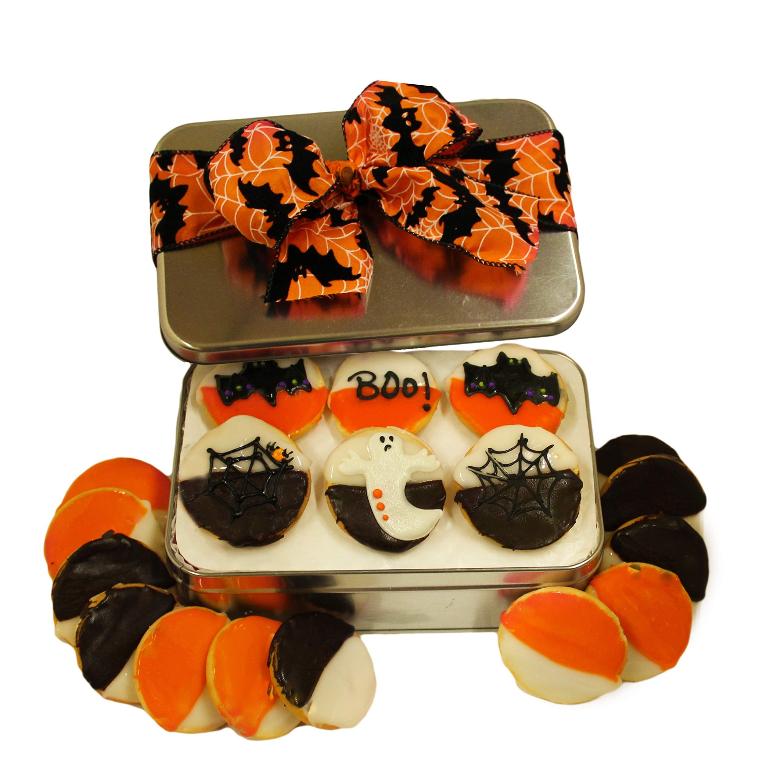 Halloween Cookie Gift Basket Tin Filled with 18 Decorated Cookies Gourmet Great Spooky Trick or Treat Gift Idea for Boys Girls Kids Adults Men Women PRIME DELIVERY by Custom Cookies