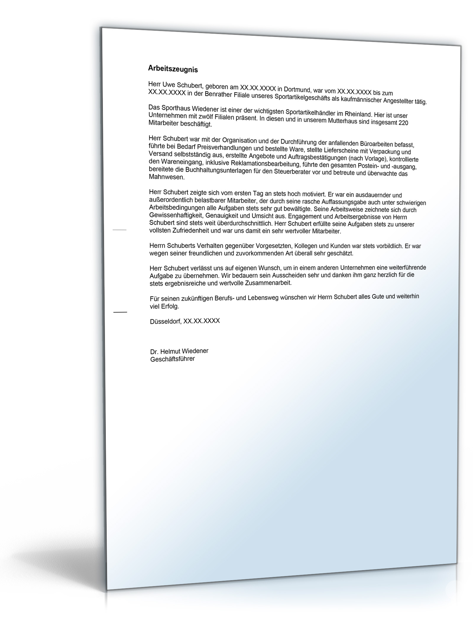 Arbeitszeugnis Kaufmannische Angestellte Note Eins Word Dokument