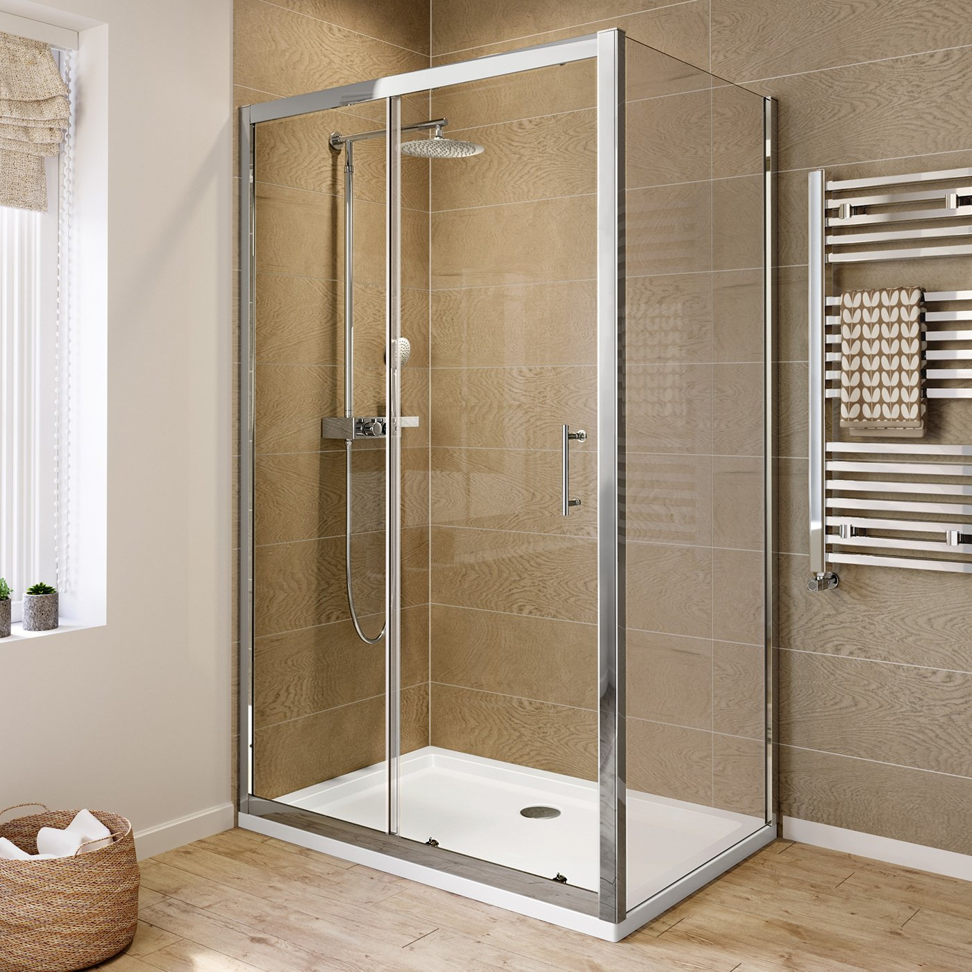 iBathUK 1200 x 760 Modern Sliding 6mm Glass Shower Enclosure Cubicle ...