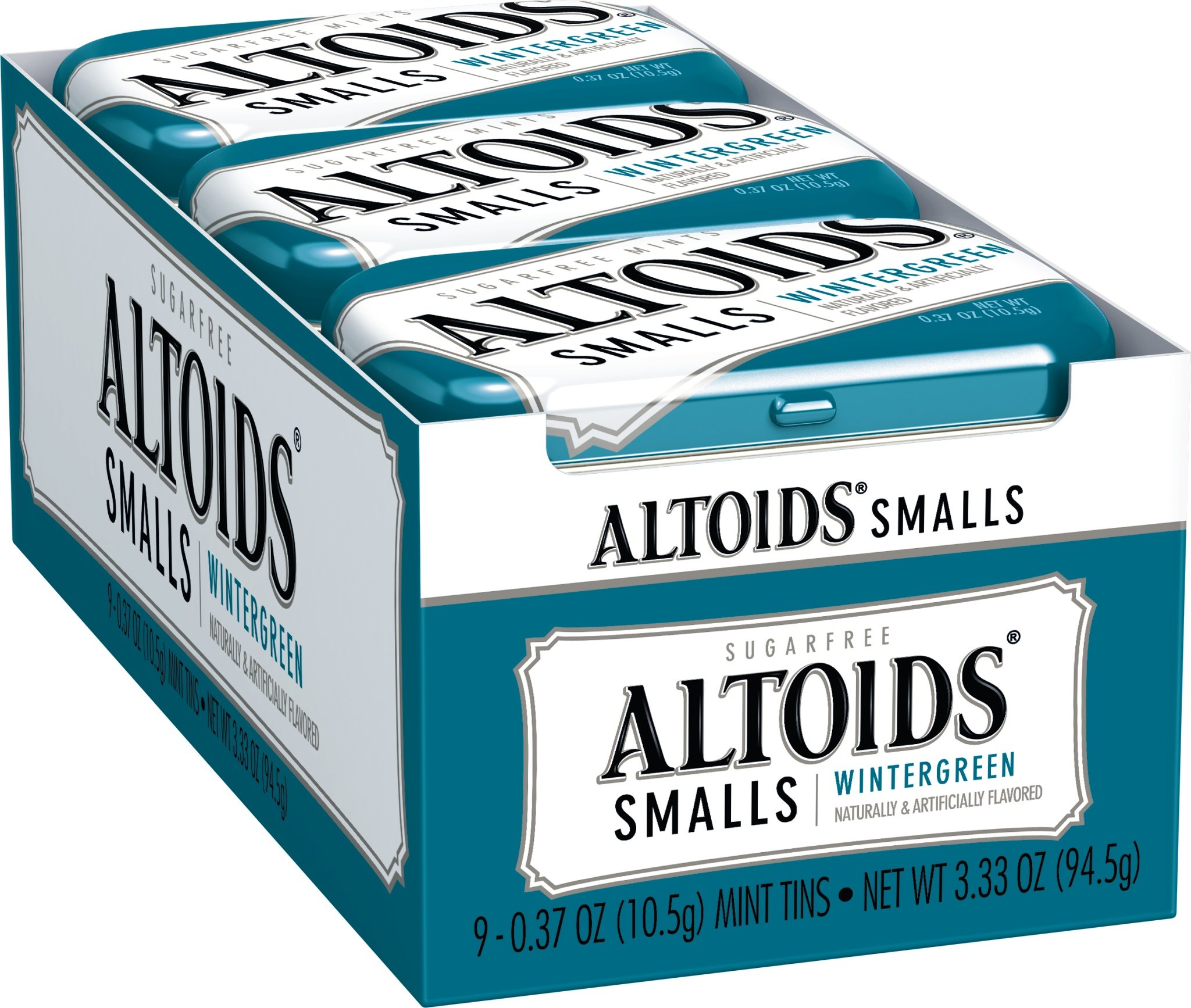 Altoids Smalls Sugar Free Wintergreen Mints, 0.37-Ounce Tins (2 Packs of 9)
