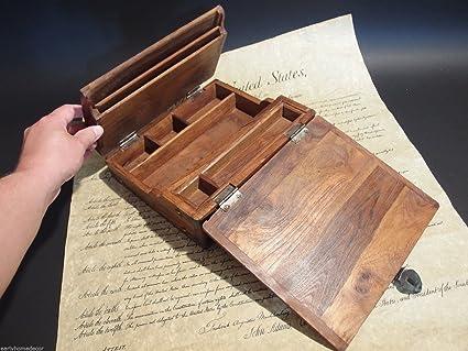 Antique Style Wood Folding Travel Writing Lap Desk - Amazon.com : Antique Style Wood Folding Travel Writing Lap Desk