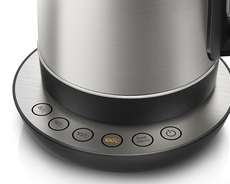 Philips HD9326/21 - Hervidora de 1,7 litros, 2200 W, Metal cepillado, 4 botones programados para la selección de su bebida caliente favorita,Filtro antical: ...