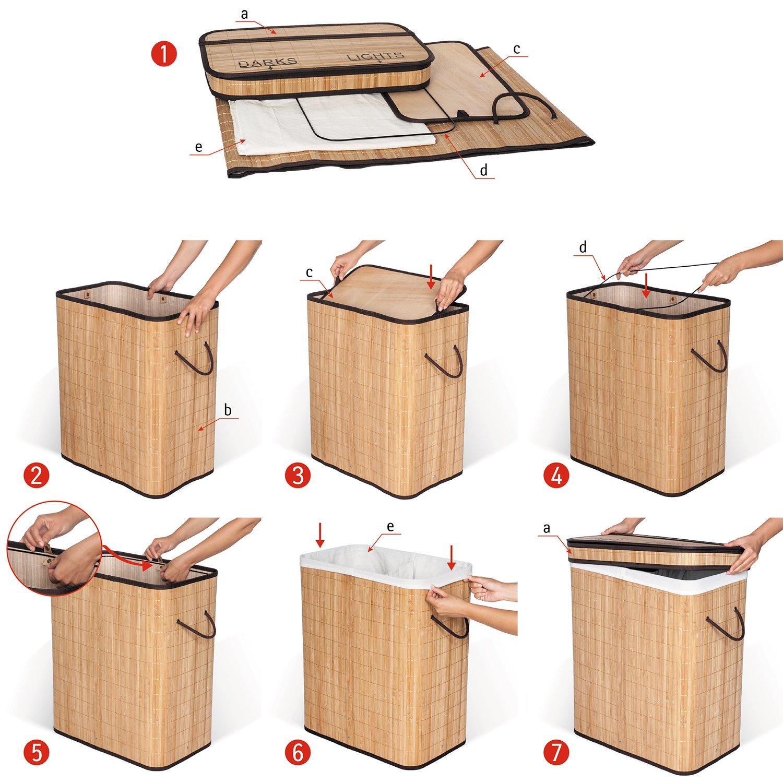 tama/ño Grande, 2 Compartimentos, bamb/ú Natural, 105 L, 52 x 32 x 63 cm Cesta para la Colada con Tapa Tatkraft 15326 Find