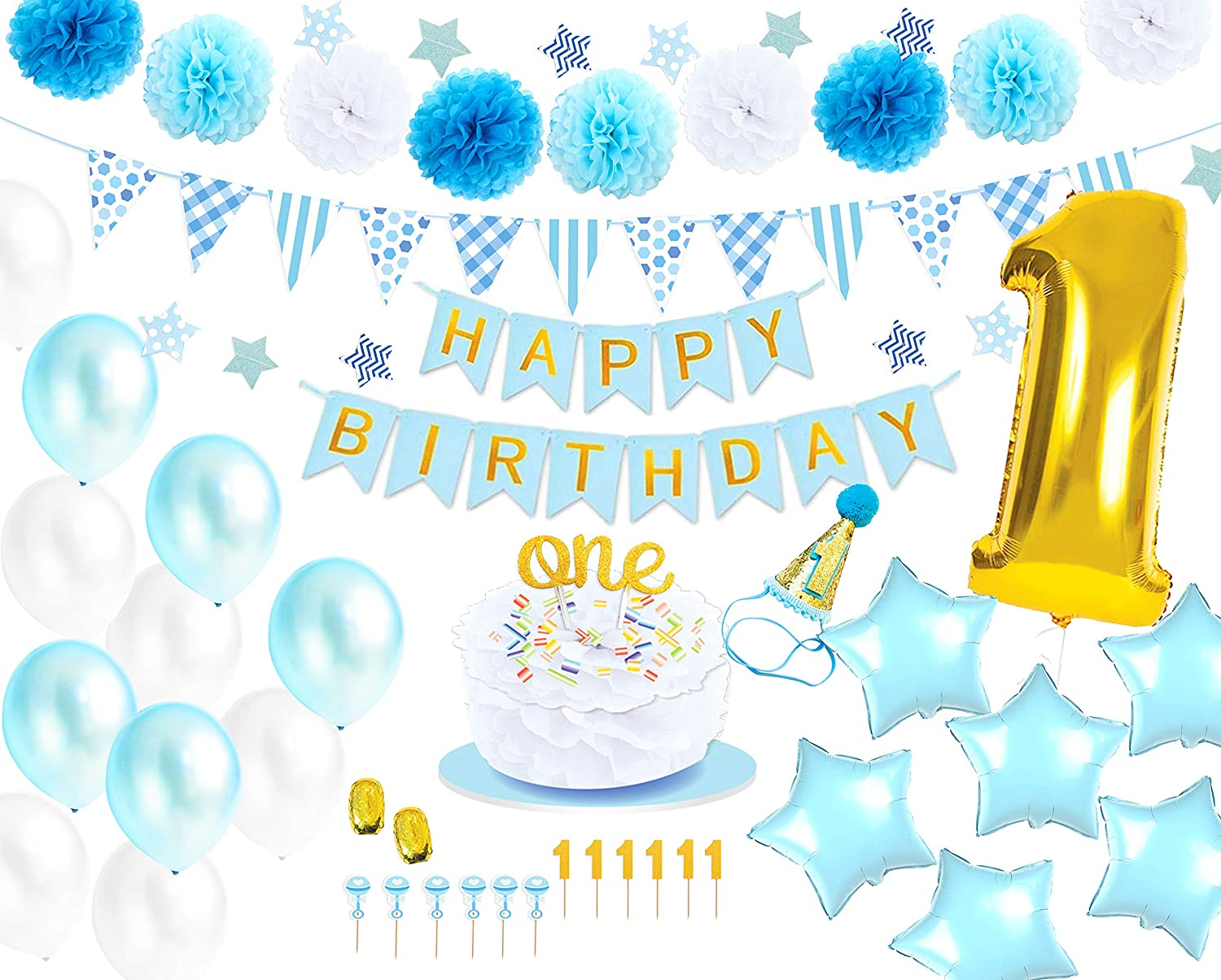Pleasing Amazon Com Monka 1St Birthday Birthday Decor For Baby Boy First Funny Birthday Cards Online Inifofree Goldxyz