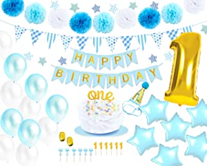 Monka 1st Birthday Birthday Decor for Baby Boy,First Birthday Party Supplies, Boy Turns One Celebration,Sky Blue Gold Color Latex and Foil Balloons,Happy Birthday Banner,Star Garland,Pompom,Cake Toppers etc