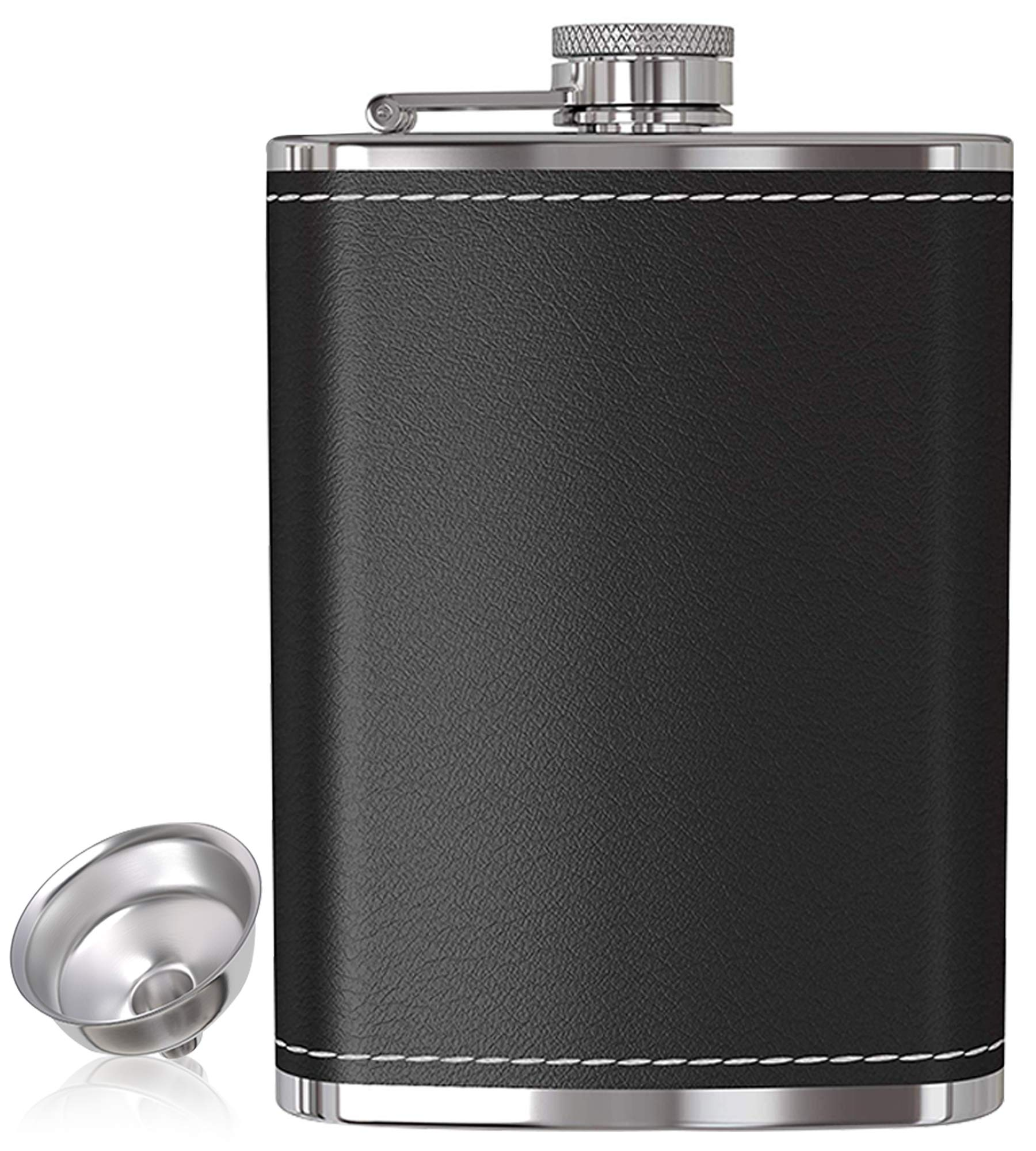 Flask for Liquor and Funnel - 8 Oz Leak Proof 18/8 Stainless Steel Pocket Hip Flask with Black Leather Cover for Discrete Shot Drinking of Alcohol, Whiskey, Rum and Vodka | Gift for Men by My Trendy Kitchen